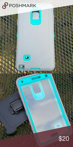 Note 4 defender style Phone case Grey and Teal heavy duty 3 in 1 phone case for Samsung note 4. Water and shock resistant. Comes with built in screen protector and belt clip holster. Accessories Phone Cases