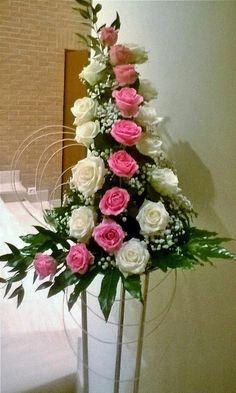 Discover thousands of images about Floral arrangement Altar Flowers, Church Flowers, Funeral Flowers, Unique Flowers, Silk Flowers, Beautiful Flowers, Flowers Garden, Contemporary Flower Arrangements, Large Flower Arrangements