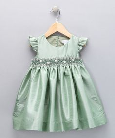 This Mint Smocked Flutter-Sleeve Dress - Infant & Toddler is perfect! #zulilyfinds