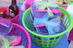 Pool Party Treat Table - Individual Ice Cream box to make a sundae with