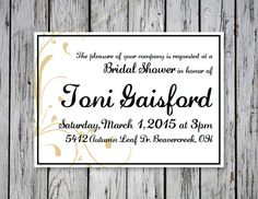 Simple Bridal Shower Invitation / DIY Printing by RejoiceGraphics