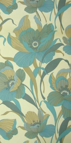 70s wallpaper Wedelia. Beautiful floral.