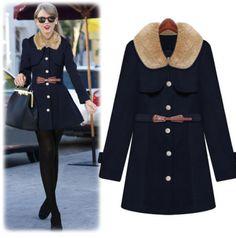2014 autumn new women's fashion fur doll collar single breasted slim woolen coat jacket $32.10 from enjoyours.com