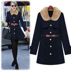 2014 autumn new women's fashion fur doll collar single breasted slim woolen coat jacket $32.10 from enjoyours.com