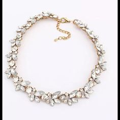 Floral Gold Choker Statement Necklace Antique New