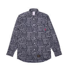 Premium cotton Textile Longsleeve Button-up Shirt from Wtaps.  Features a unique all-over text print, plus iconic branding throughout.