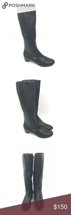 Eileen Fisher Black Leather Knee High Boots 9 Eileen Fisher Women's Black Leather Knee High Boots Size 9   These shoes have some light surface scratches, creases, marks & minor dirt/wear on insides and bottom soles. All other defects will be closely photographed. Eileen Fisher Shoes Heeled Boots