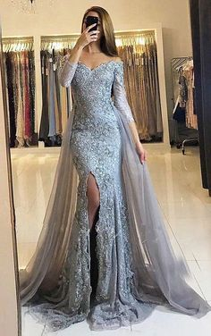 Sheath Prom Dresses,Off-the-Shoulder Prom Dresses,Detachable Train Prom Dresses,Grey Prom Dresses,Tulle Prom Dresses,Beading Prom Dresses,Prom Dresses 2017,Long Sleeves Prom Dresses #longpromdresses
