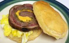 Fatty Egg Muffin - Jimmy Dean Sausage stuffed with American Cheese and Serrano Chiles.  Wrap that with bacon and Smoked to perfection.  Slice off a piece and set on top of a scrambled egg in a biscuit.