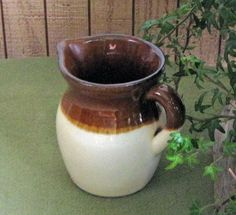Brown Drip Cream Pitcher R.R. P. Co. Roseville OH by LazyYVintage