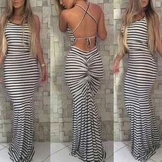 """Item Type: Dress Material: Polyester Sleeve Length: Sleeveless Pattern: Stripe Style: Fashion Color: White Size: XS (US size) Bust: 31-33"""", Waist: 23-25"""", Hips: 33-35"""" S (US size) Bust: 33-35"""", Waist:"""
