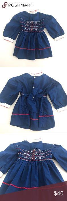 a96bbaab66550 Polly Flinders Vintage Toddler Embroidery Dress 2T Polly Flinders Vintage  Toddler Embroidery Dress, Royal Blue