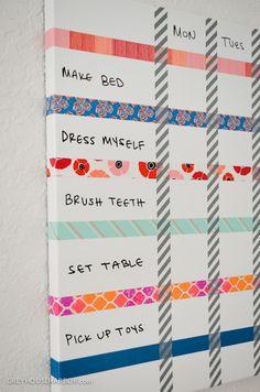 diy – magnetic dry erase kids chore chart
