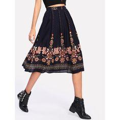 Botanical Print Flare Skirt