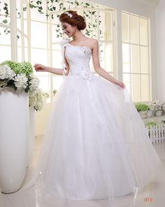 wedding dress 2014 one Shoulder straps sweet sexy princess bridal gown Slim sequined fashionable wedding dresses W27