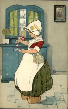 Postcard: The Little Nurse, Dutch girl pouring medecine. Vintage Cards, Vintage Postcards, Vintage Images, Illustrations Vintage, Illustration Art, Bros, Delft, Vintage Children, Vintage Prints