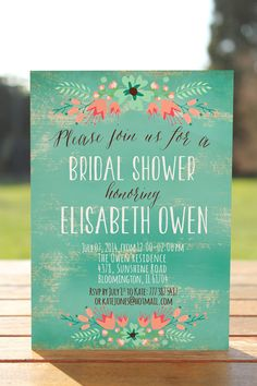 Printable bridal shower invite, Cute rustic bridal shower invitation in blue colors with rustic flowers and old paper.
