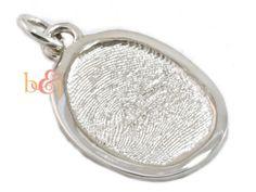 Sterling Silver Oval Fingerprint Pendant with border - by Brent & Jess Custom Handmade Fingerprint Wedding Rings and Jewelry