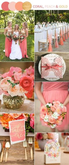 coral, peach and gold wedding color inspiration, wedding color schemes, wedding flowers Coral Wedding Themes, Gold Wedding Colors, Wedding Color Schemes, Wedding Coral, Coral Weddings, Peach Wedding Theme, Coral Wedding Decorations, Reception Decorations, Spring Wedding