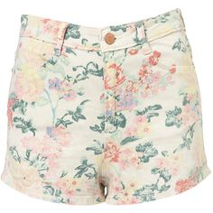 TOPSHOP Coated Floral Hot Pants ($10) ❤ liked on Polyvore featuring shorts, bottoms, pants, short, white, white short shorts, flower print shorts, mini shorts, micro shorts and white mini shorts