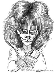 Sketch o'the Week- Peter Criss! Funny Caricatures, Celebrity Caricatures, Celebrity Drawings, Caricature Artist, Caricature Drawing, Paul Stanley, Gene Simmons, Rock N Roll, Illusion Pictures