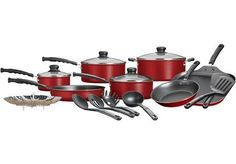 Mainstays Classic Nonstick 18-Piece Pots And Pans Cookware Set Red Kitchen New