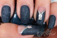 Denim Zipper Nails - the zippers are water decals so even someone like me can do this manicure! Great Nails, Fabulous Nails, Gorgeous Nails, Hot Nails, Hair And Nails, Sexy Nails, Hena, Nailart, Nails Polish