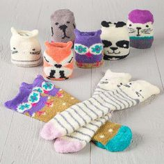 Cozy Socks - These Cozy Critter Socks are SO soft and comfy! They feature adorable animal faces and fun designs like flowers, stripes and polka dots. Cute socks make perfect gifts and stocking stuffers!