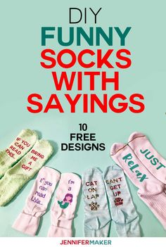 DIY Funny Socks with Sayings made with Iron On Vinyl and Infusible Ink Good Tutorials, Cricut Tutorials, Cricut Ideas, Cricut Craft, Diy Funny, Funny Gifts, Cricut Explore Projects, Cricut Help, Iron On Vinyl