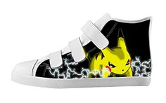 Custom Imported Kid Anime Pokemon Pikachu Canvas Shoes High-Top Velcro Rubber White Casual Sneakers For Boys Girls-3M(US) - Pokemon Canvas Shoes