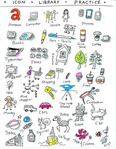 Great idea for doodles when you get stuck on a topic or theme - start creating a library of common elements, icons, etc. Create your own library to reference for later and doodle new entries quickly. Doodle Sketch, Doodle Drawings, Doodle Art, Visual Thinking, Design Thinking, Visual Note Taking, Doodles, Sketch Notes, Stick Figures