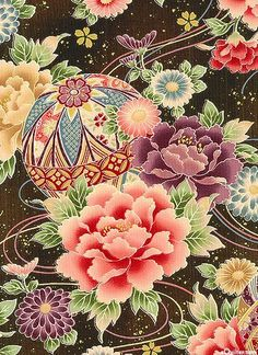 Japanese Embroidery Kimono 'Hime' collection (inspired by kimonos of the Japanese Princess) of the 'Hyakka Ryoran' series by Quilt Gate - Chinese Patterns, Japanese Patterns, Japanese Design, Japanese Art, Japanese Textiles, Japanese Fabric, Japanese Princess, Art Japonais, Japanese Embroidery