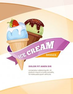 Delicious ice cream vector vintage poste... | Premium Vector #Freepik #vector #banner #brochure #flyer #poster Ice Cream Menu, Vintage Posters, Vector Free, Freepik Vector, Banner, Templates, Projects, Poster Vintage, Banner Stands