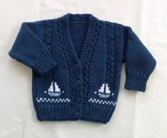 Baby knit cardigan with sailboat motifs - 6 to 12 months - Baby shower gift - Baby boys clothing