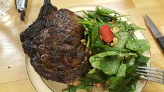 Grilled Ribeye, with spinach & strawberry salad