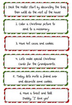 Printable Advent Calendar, experiences for Christmas