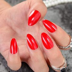 CoolNail Stiletto Nail Tips Oval Sharp end False Nails Sexy Red Waterdrop Shape Fake Nails Tips Full Cover Artificial Nail Red Manicure, Artificial Nails, Stiletto Nails, Nail Tips, Long Nails, Nail Designs, Shapes, Sexy, Beauty