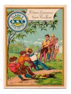 Victorian Trade Card Clarks Ont Spool Cotton Tug O War Sewing