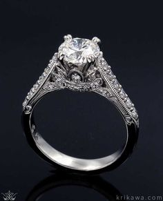Vintage Crown Engagement Ring! Exclusively at Krikawa. Handcrated in your favorite metal and stones! Intricate Engagement Ring, Crown Engagement Ring, Perfect Engagement Ring, Vintage Engagement Rings, Wedding Ring Designs, Wedding Rings, Ring Tattoos, Queen, Jewelry Photography