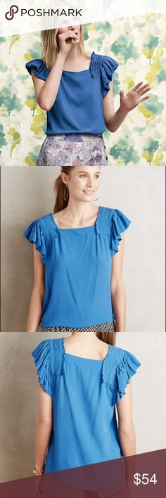 "NEW Anthropologie Maeve Epaulet Ruffle Top NWT NEW! Cute blue Anthropologie top with lots of flair! Ruched and ruffles at shoulders Swing cut! Slight stretch. Tuck in to a skirt or wear over jeans! 3rd photo is for styling only, the actual top is blue! By Maeve. Rayon blend. New With Tags!! Size 12. Approximately 26.5"" long. The blue looks most like first photo & last few photos. C28M160050217 Anthropologie Tops Blouses"