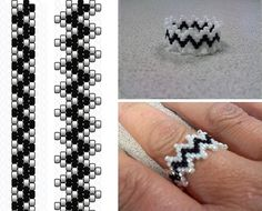 Lacy Ring with peyote. Easy, fast. You bead the core then add the picots. #Seed…