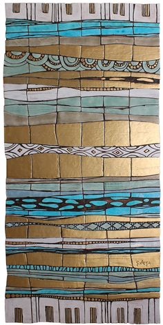 Ceramic wall art. Tapestry ceramic wall hanging.  www.gvega.com.