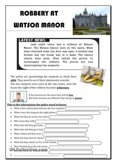 Robbery at Watson Manor - English ESL Worksheets for distance learning and physical classrooms Teaching Jobs, Teaching Activities, Teaching Ideas, English Lessons, Learn English, Detective, English Exercises, Good Sentences, Reading Comprehension Worksheets