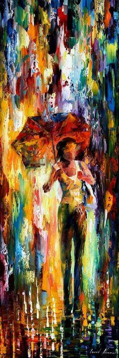 """WALKING ON THE WAVES"""" oil painting by Leonid Afremov"""