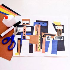 Discover how things can be pieced together with simple shapes.                 What You'll Need:  White paper; construction paper (orange, yellow, blue, brown, black); black marker; scissors; glue                 Make It: Picasso relied on straight lines and edges to transform geometric shapes and bold strokes into the figures of three musicians. The whimsical style he popularized, which simplified the subject matter, is known as Cubism. Turn the paper horizontal. Cut several squares…