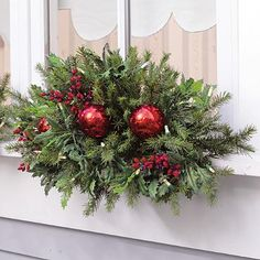 Set of Two Cordless Holly and Berry Window Swags