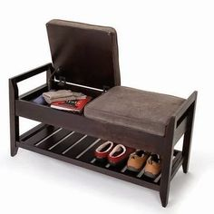 Superb This is the entryway bench that stores soiled shoes off the floor while providing convenient storage under its cushions