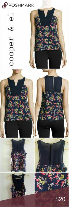 Cooper + Ella Floral Sleeveless blouse New with tags from Neiman Marcus.  Product Details:  Floral-printed charmeuse blouse with chiffon trim. Pleated tuxedo detail. V neckline; keyhole back. Sleeveless; cut-in shoulders. Straight hem. Pullover style. Polyester self/contrast; hand wash. Imported. Tops Blouses