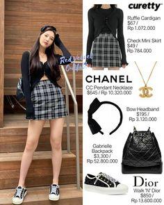 Joy Instagram, Dior Sneakers, Check Mini Skirt, Chanel Necklace, Velvet Fashion, Red Velvet, Velvet Outfits, Skater Skirt, Mini Skirts