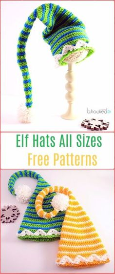 Crochet Elf Hats All Sizes Free Pattern - Crochet Christmas Hat Gifts Free Patterns